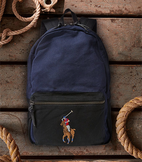 Navy backpack with embroidered Polo Pony at front zip pocket