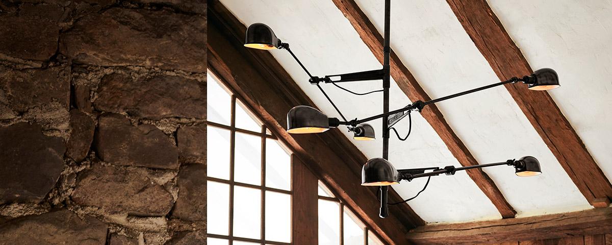 Adjustable swing-arm-light chandelier