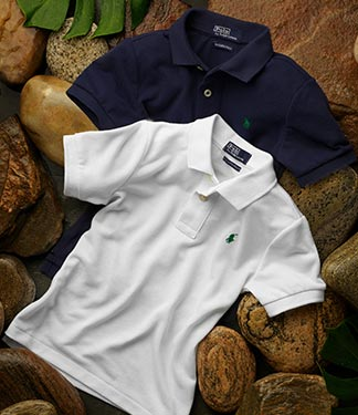 Navy and white Earth Polos.