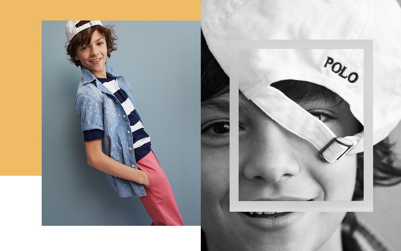 Boy in short-sleeve chambray shirt & white Polo baseball cap