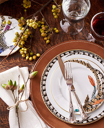 Plate with feather motifs & leather placemat