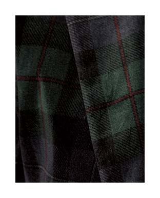 Close-up image of green and blue tartan fabric