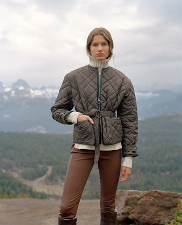 Woman in skinny brown leather pants