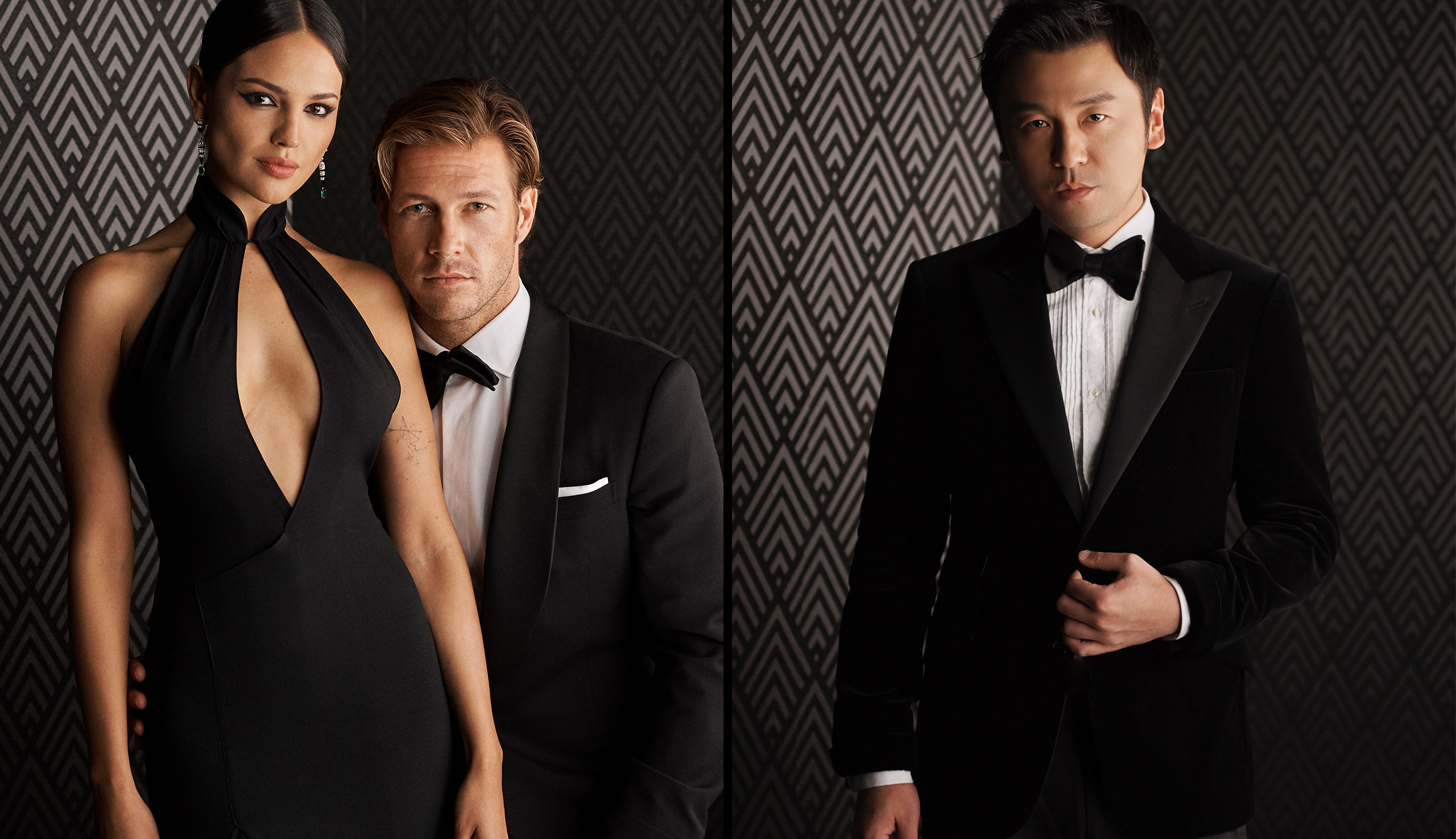 Left:  Eiza Gonzalez and Luke Bracey; Right:  Lei Jiayin