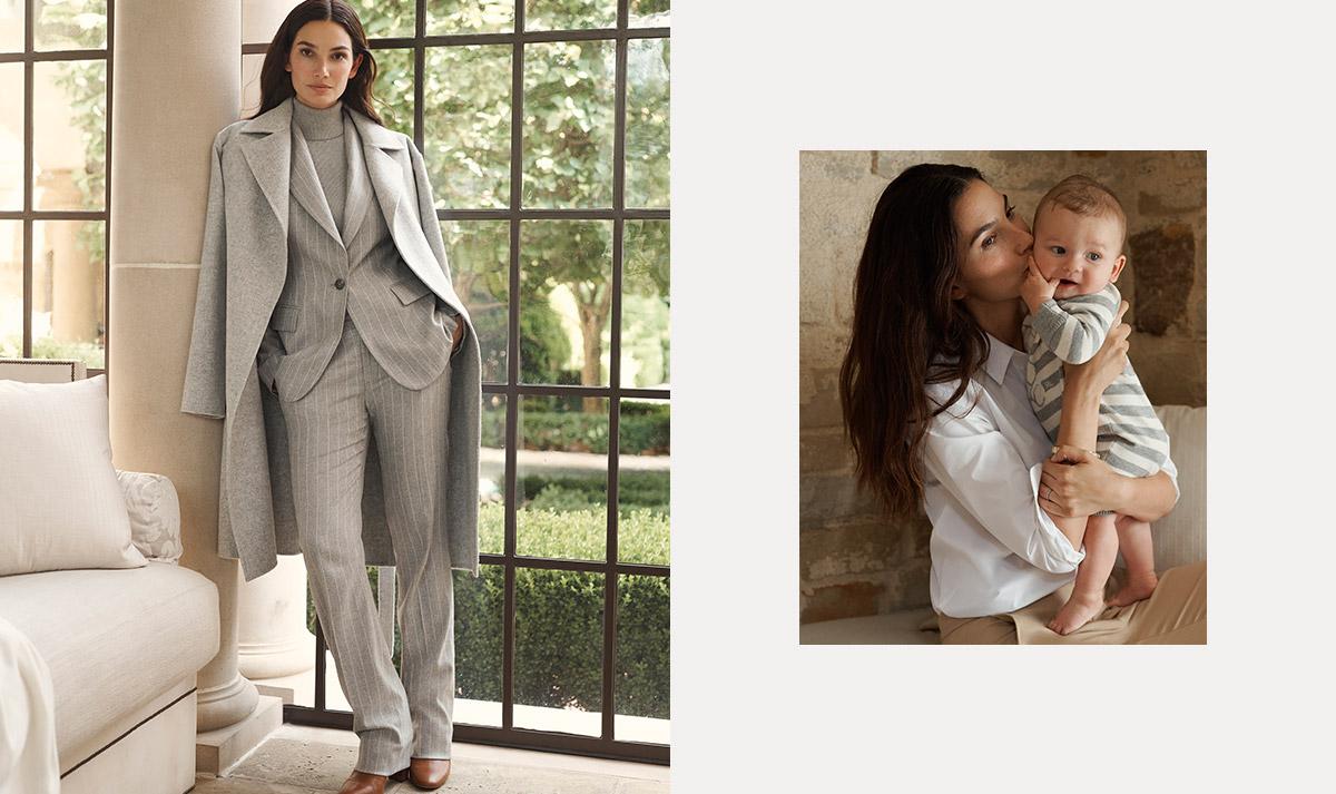 Woman wears light grey pinstripe suit under long grey coat.