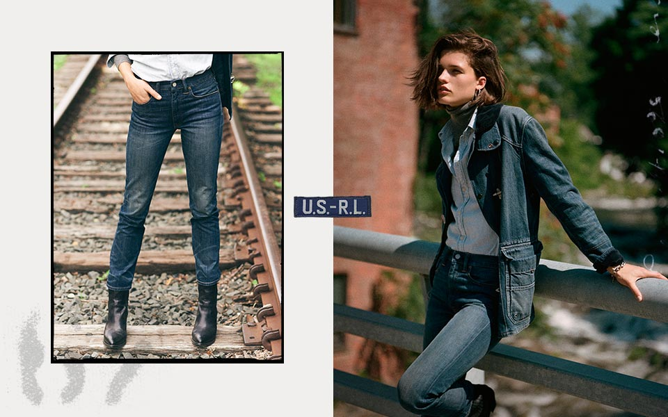 Woman leaning against fence & woman by train tracks in distressed jeans