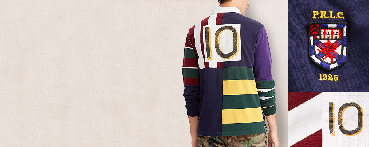 Multicolored patchwork rugby shirt with large '10' appliqué at back