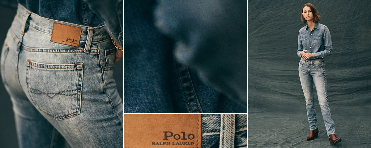Close-up of RL Heritage Straight jean; woman wears Polo denim.
