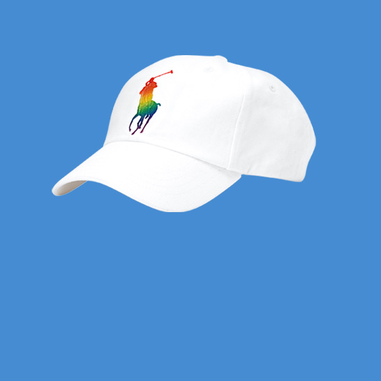 Gus Kenworthy in white tee with large rainbow Polo Pony graphic