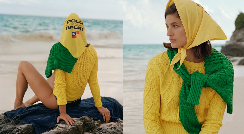 Woman wearing yellow headscarf accented with Polo Sport logo