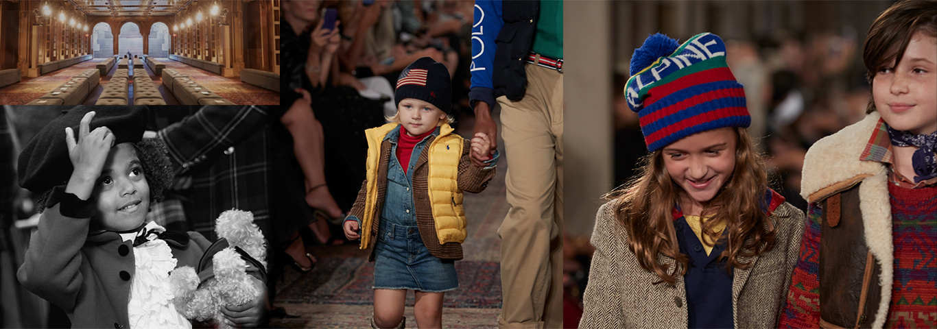 Collage of images of childen on the Ralph Lauren 50th Anniversary runway.