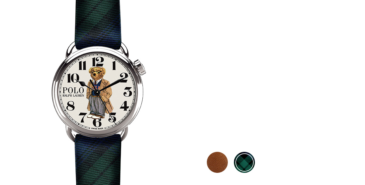Watch with brown leather strap & printed bear in overcoat & glasses