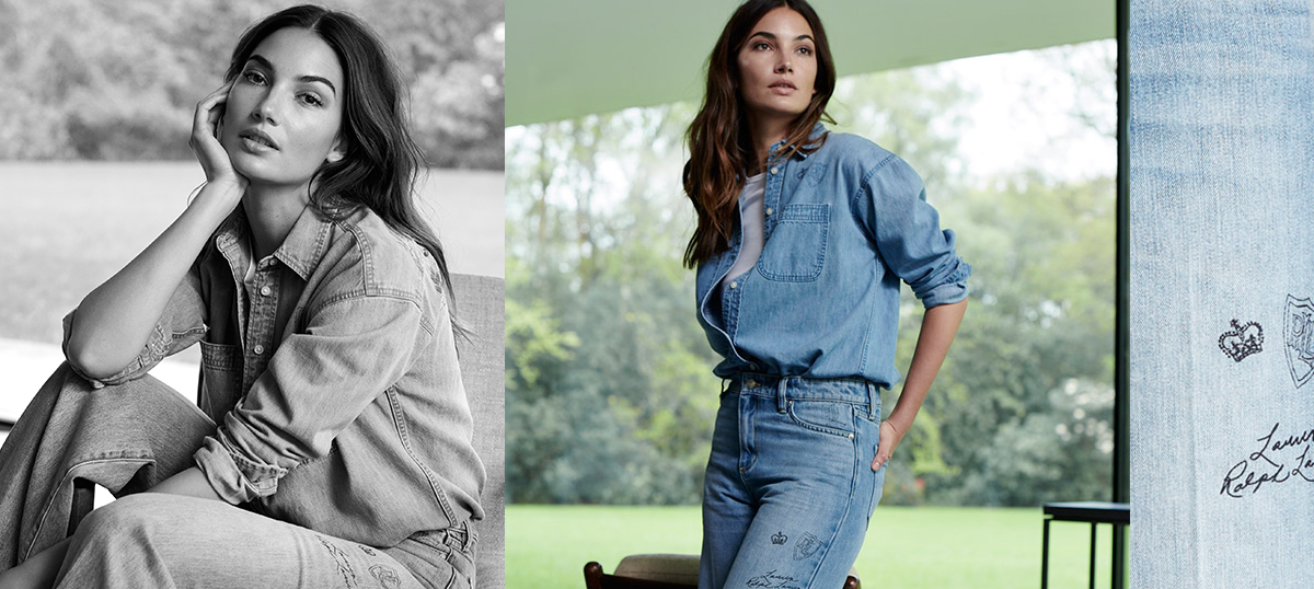 Woman in denim button-down paired with jeans