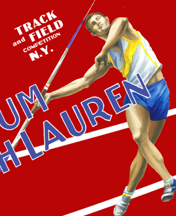 Vintage-inspired graphic of javelin thrower