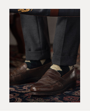 Man in brown leather penny loafers