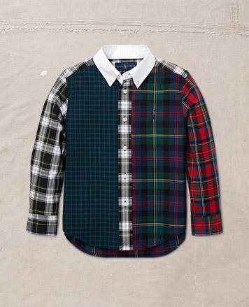 Plaid button-down shirt.