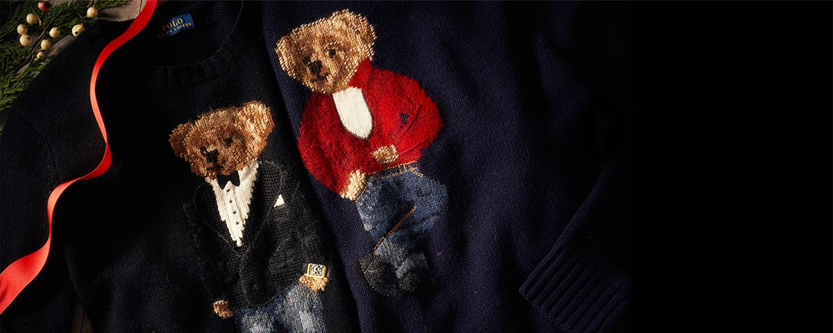 Black sweater with tuxedo jacket–and-denim-clad Polo Bear at front