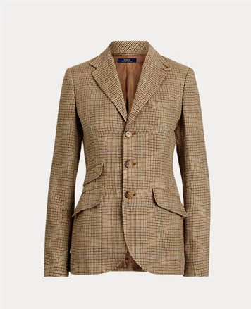 Brown & tan plaid blazer with horn buttons