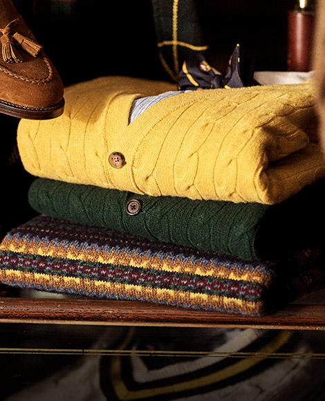 Yellow & green cable cardigans & Fair Isle sweater