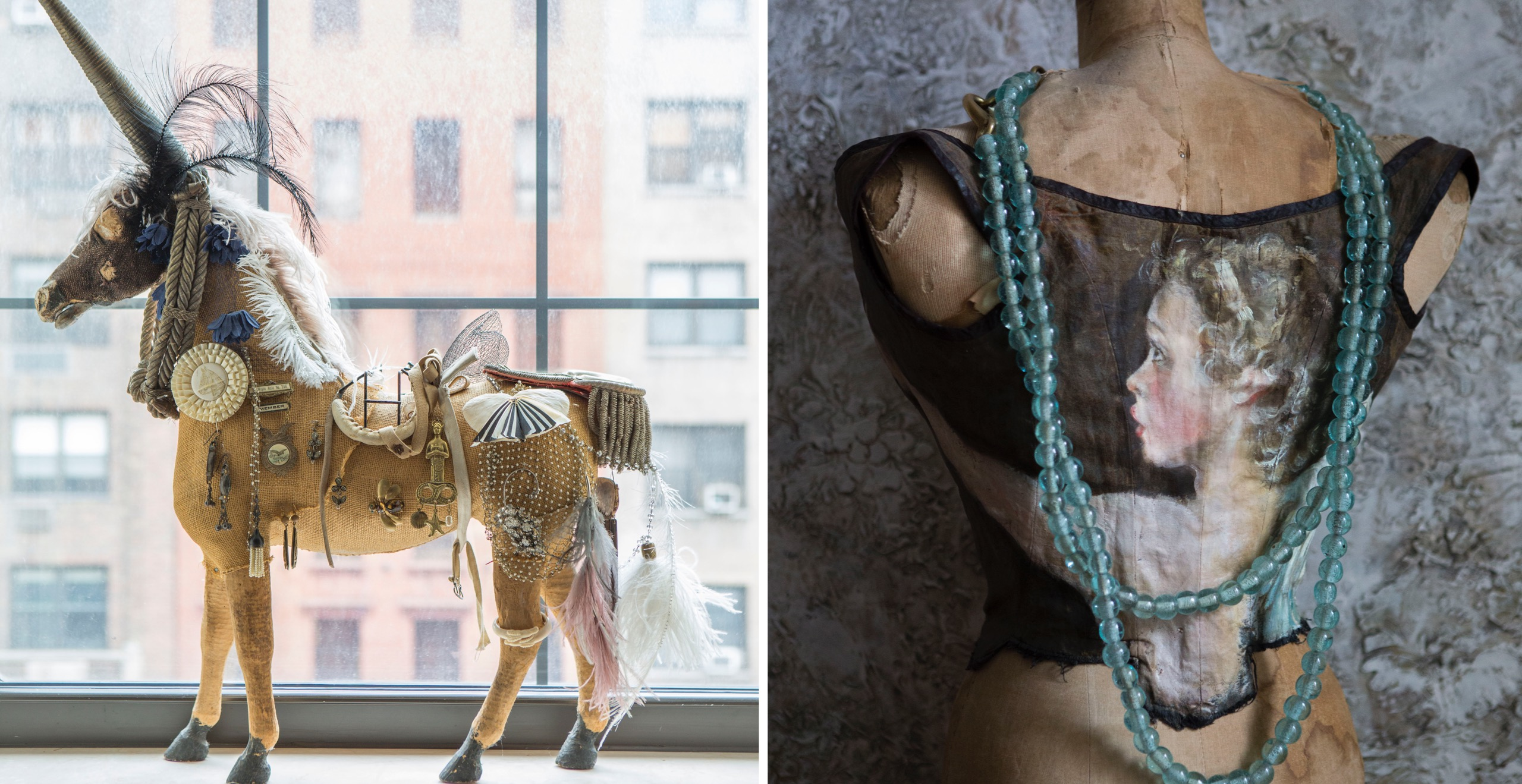 Left to right: Collector and artist Daniela Kamiliotis rescued this tattered horse at a flea market and transformed him into a magical unicorn encrusted with some of her fabulous finds. His tail is a vintage epaulet!; A romantic portrait of a girl by Daniela on a vintage garment adorns an antique dress form framed with sea glass beads