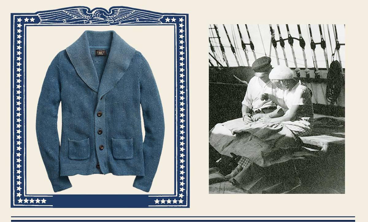 Faded, indigo-dyed shawl sweater
