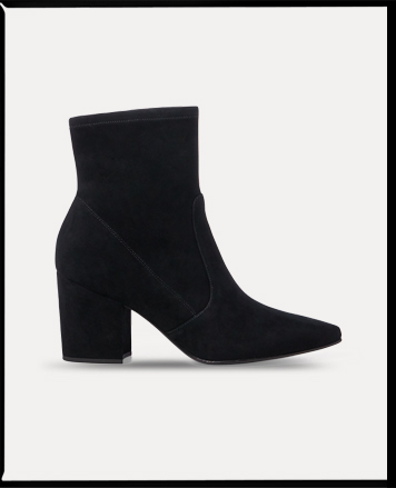 Black stiletto leather boot with pleating detail at side