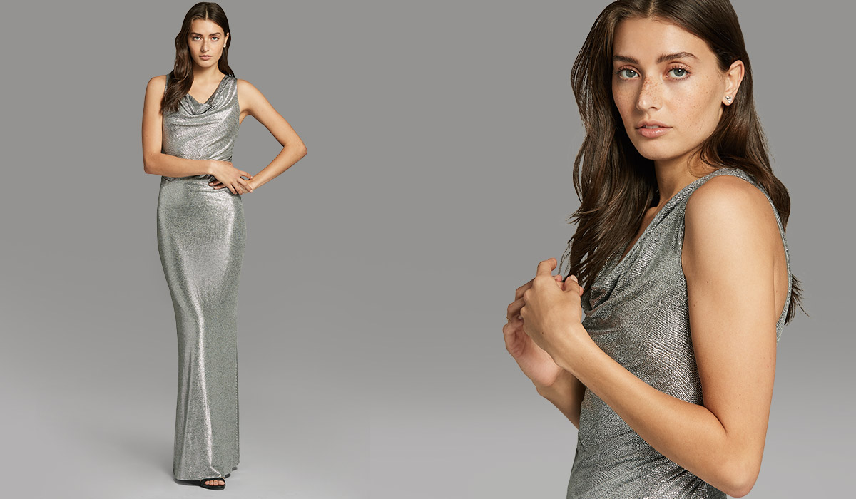 Model in silver sequined floor-length gown