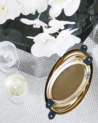 Serving trays with navy leather accents