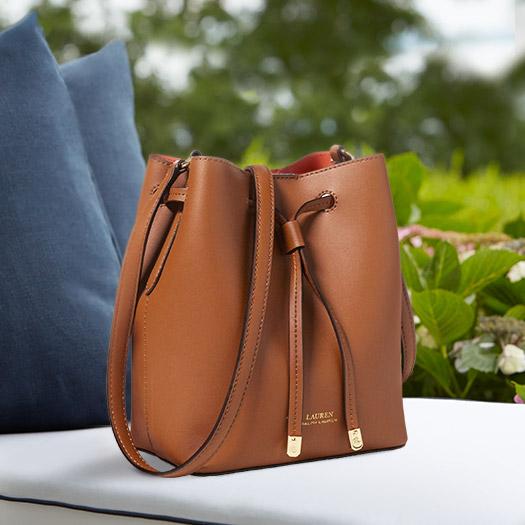 Brown leather drawstring bag
