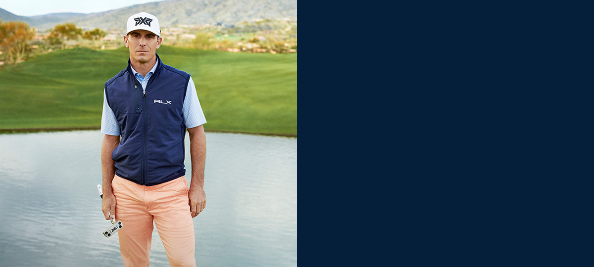 8073487f008 Billy Horschel in navy paneled golf vest