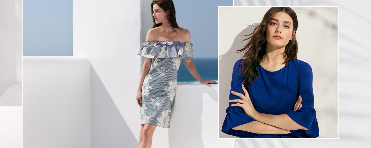 Woman in off-the-shoulder dress & woman in bell-sleeve dress