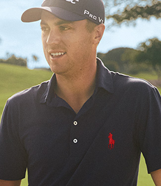 Animated gif of Justin Thomas wearing customized Polo shirt