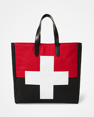 Leather-Trim Canvas Tote Bag