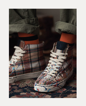 Plaid high-tops with paint splatters