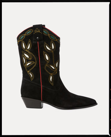 Black suede boot with embroidered floral motif at shank