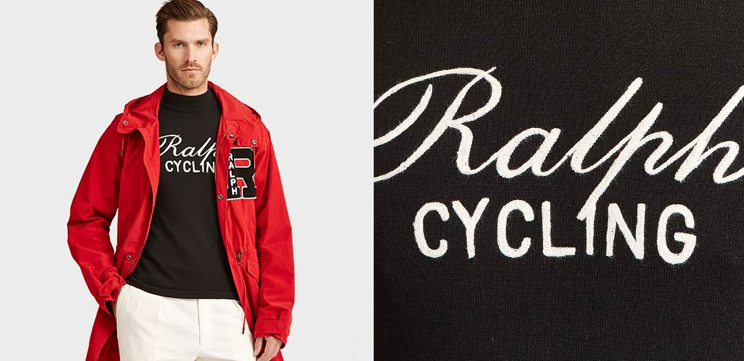Model in red anorak over black top with 'Ralph Cycling' logo