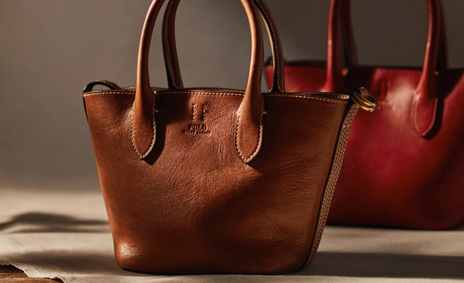 Black croc-embossed & smooth brown leather tote bags