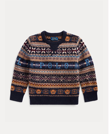 Multicolored Fair Isle sweater with Polo at chest.