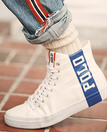 White high-tops with blue vertical Polo stripe at side