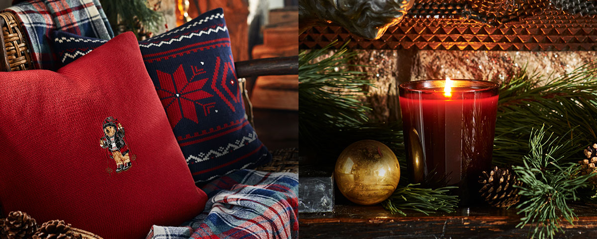 Polo Bear & snowflake throw pillows & festive candle