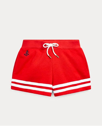 Red drawstring shorts with white stripes at the bottom.