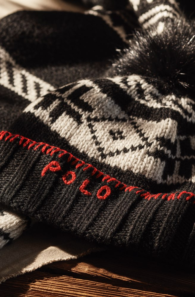 Black & white hat with Nordic motifs & red Polo logo