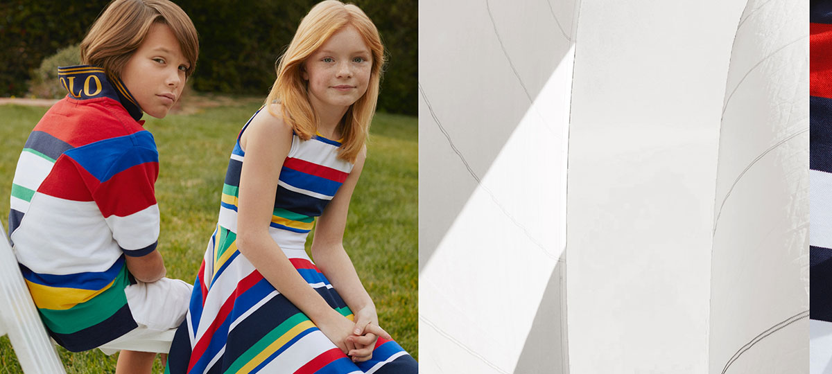 Kids wear brightly colored nautical-striped outfits.