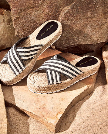 Espadrille sandals with striped crisscross straps at front
