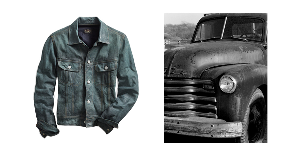 Faded indigo trucker jacket next to photo of vintage pickup truck