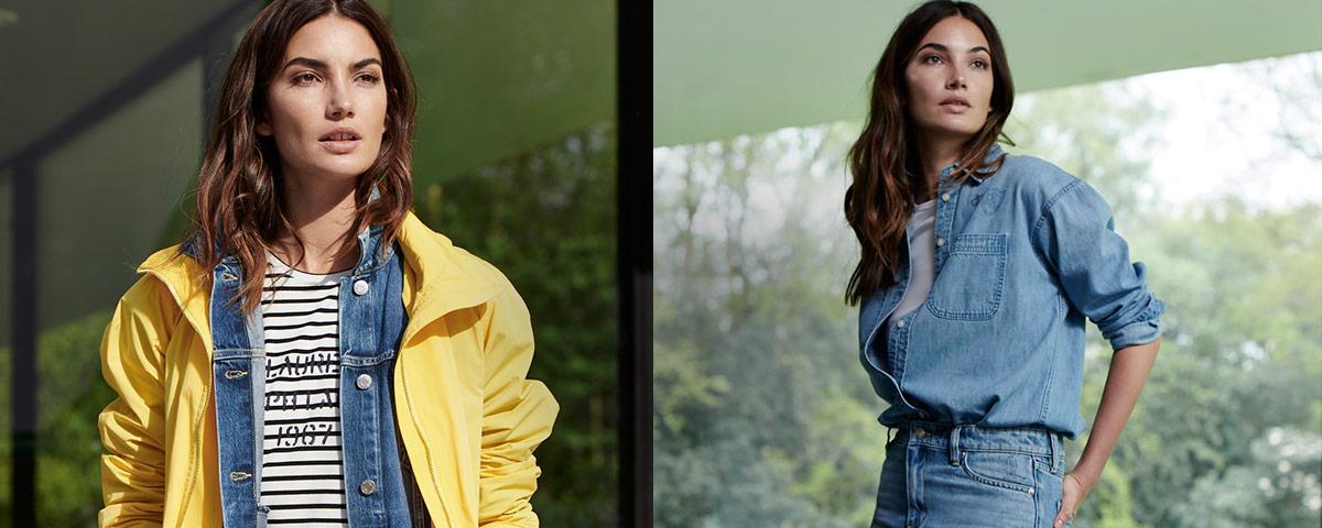 Woman in light-yellow jacket & denim button-down shirt