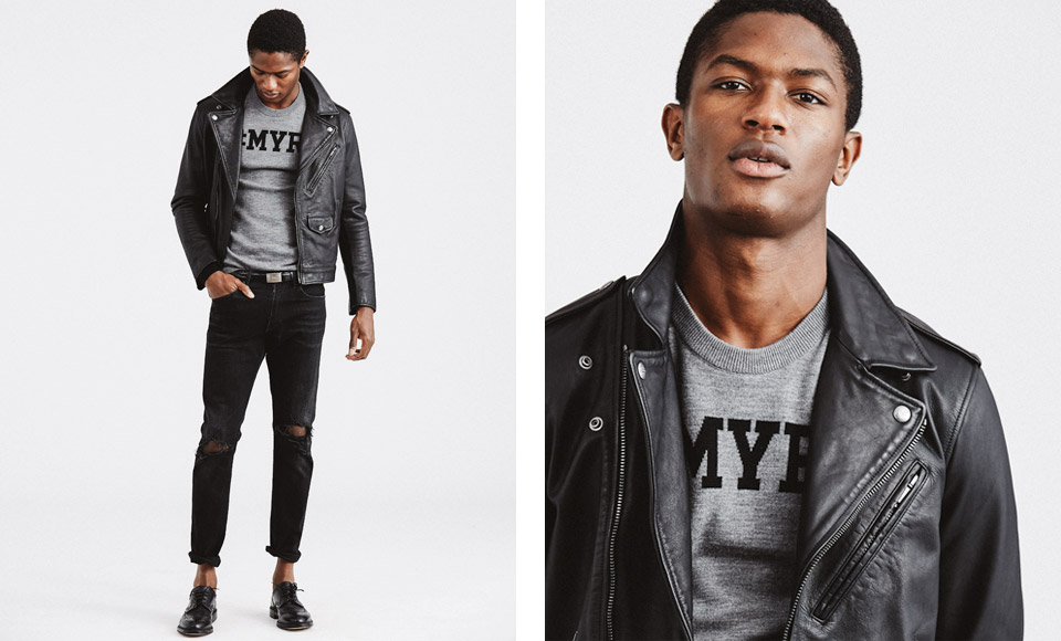 Man in leather jacket over grey custom sweater