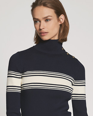 Striped Silk Turtleneck
