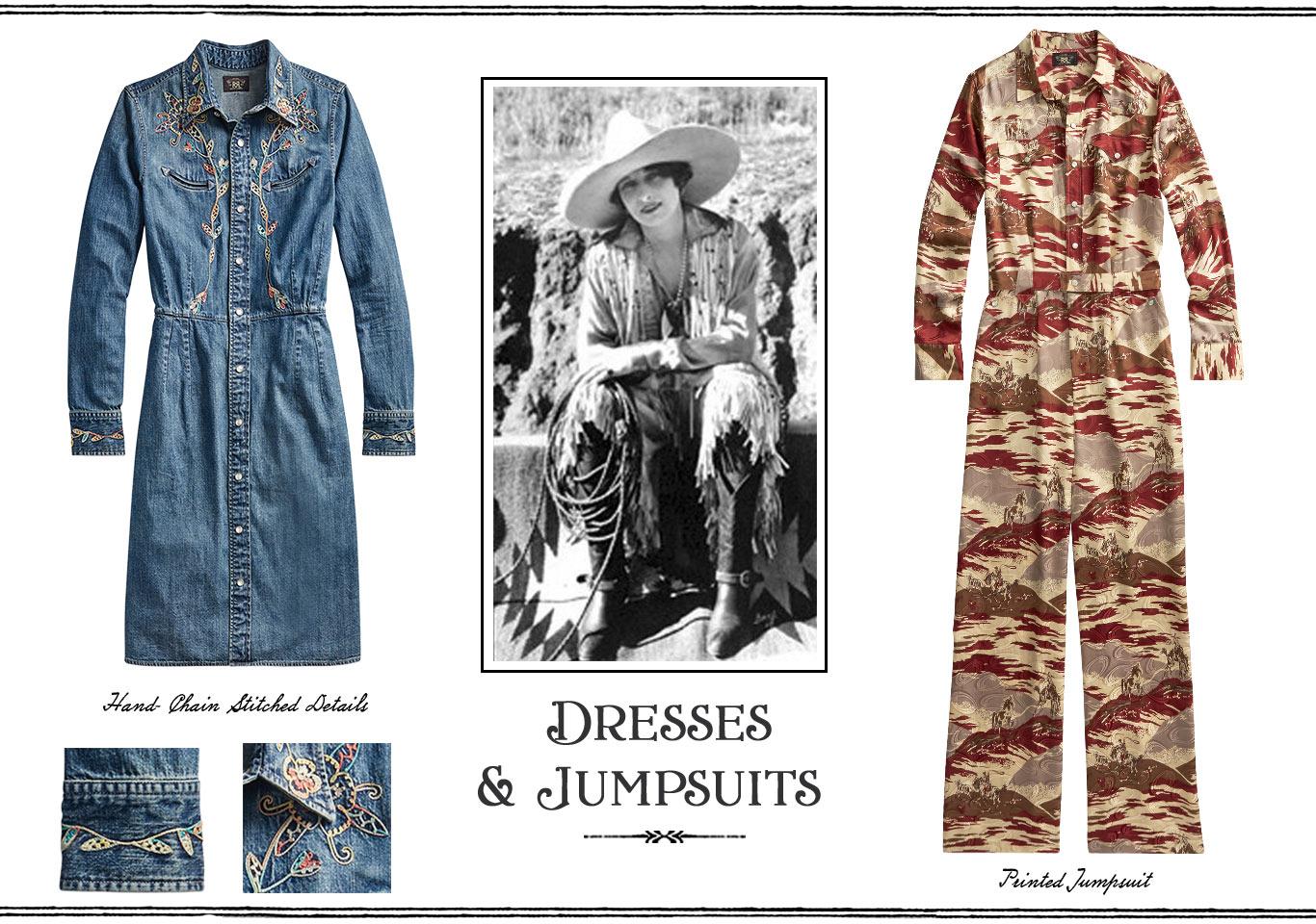 Denim shirtdress & camo coverall
