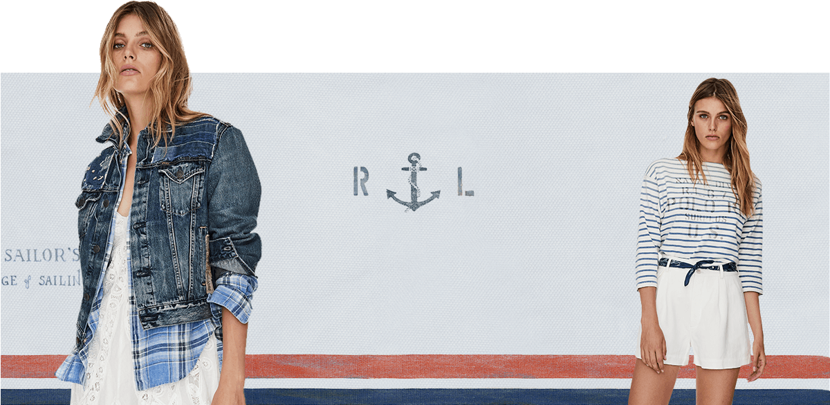 Women in navy-striped, nautical-inspired tops